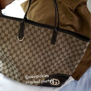 Gucci Monogram Leather Trim Tote [COMING SOON]